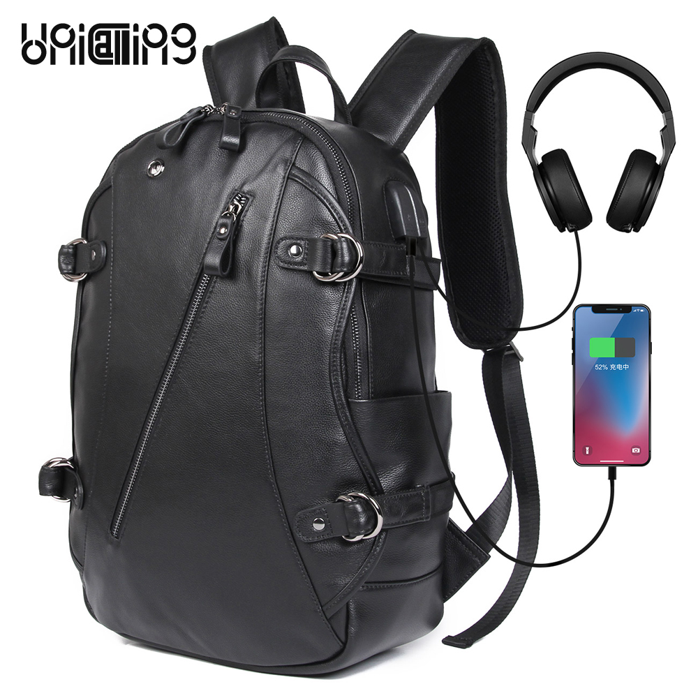 UNICALLING 100% Guaranteed <font><b>genuine</b></font> <font><b>leather</b></font> usb charging anti-theft <font><b>backpack</b></font> <font><b>Unisex</b></font> 15.6