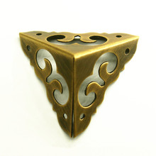 30MM Antique Furniture Copper Corner Flower Gusset Jewelry Box All Copper  Three Angles Vintage Chinese Wrap