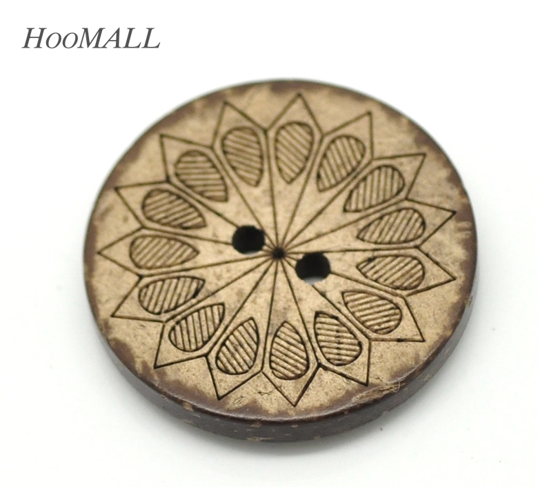 Hoomall 30PCs Brown Pattern Buttons 2 Holes Coconut Shell Sewing Buttons Craft Scrapbooking 28mm(1 1/8)