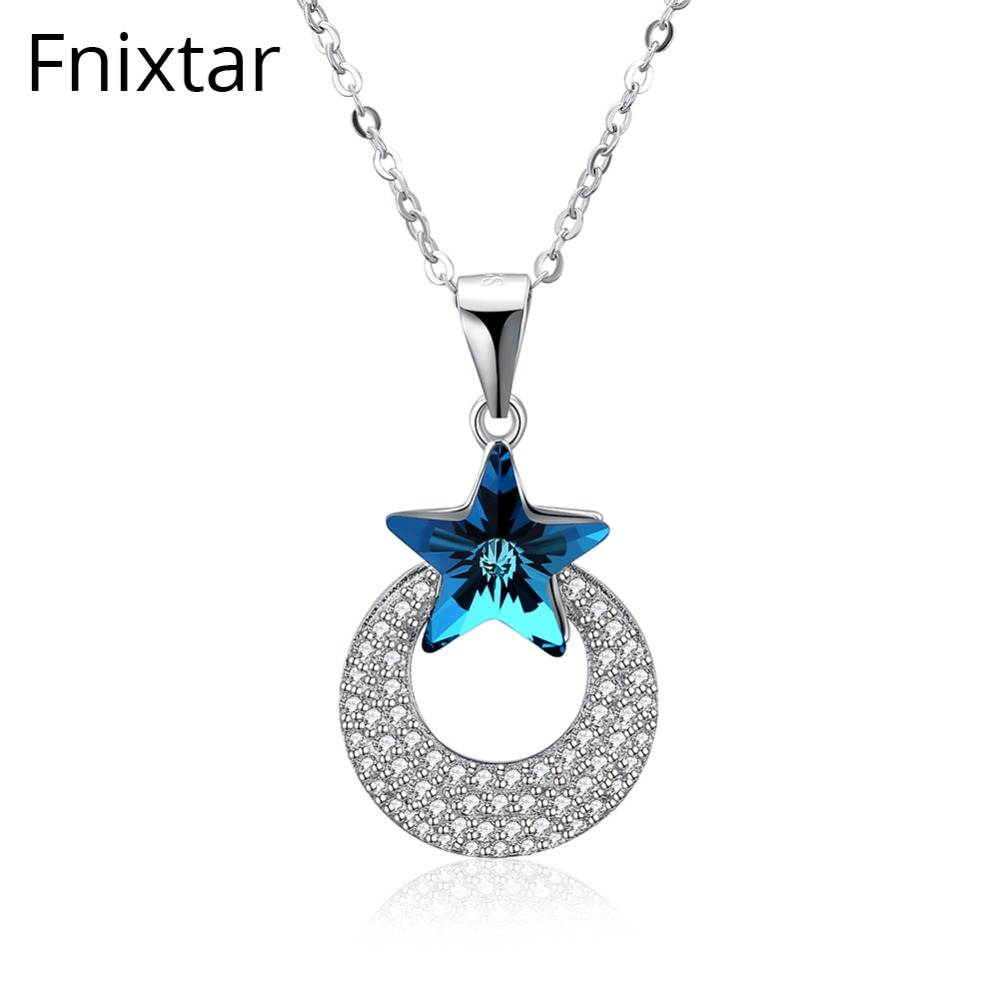 Fnixtar Luxury 925 Sterling Silver Shining Star Geometric Line Necklaces & Pendants Clear CZ Women Necklaces Sliver Jewelry Gift