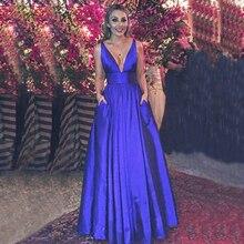 Королевское синее вечернее платье, оголяющее спину простые пикантные V образным вырезом Для женщин Вечернее широким поясом трапециевидной формы карманов плюс Выходные туфли на выпускной Вечерние Платье vestidos de festa