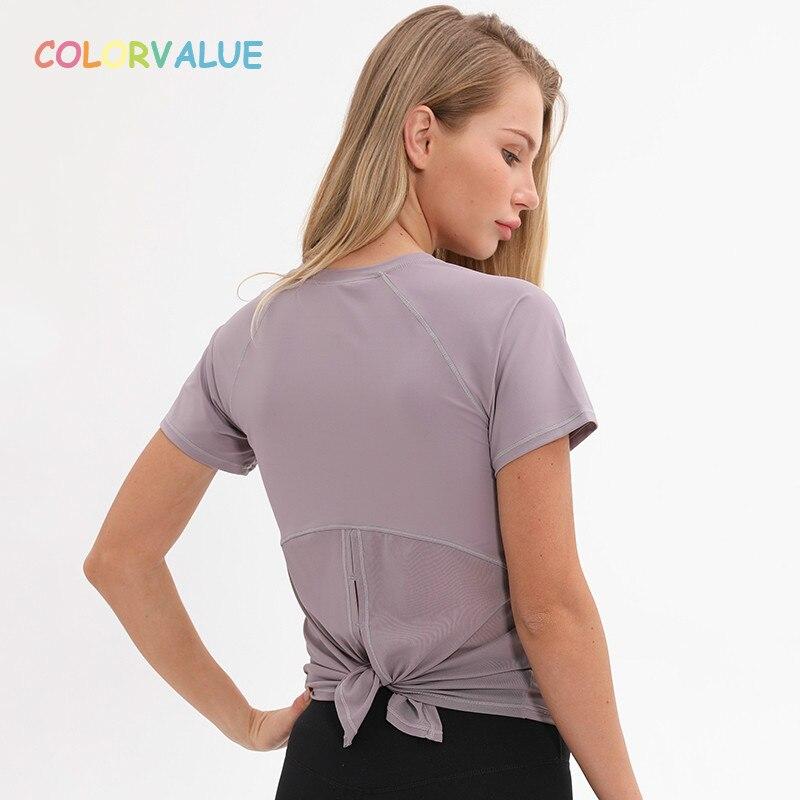 Colorvalue Back Mesh Patchwork Yoga Fitness T shirt Women ...
