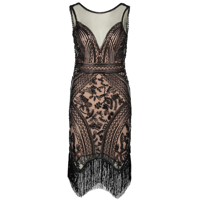 7a0346378940 Women Flapper Dress Vintage V Neck Sleeveless Sequin Fringe 1920s Great  Gatsby Charleston Dress Art Deco ...