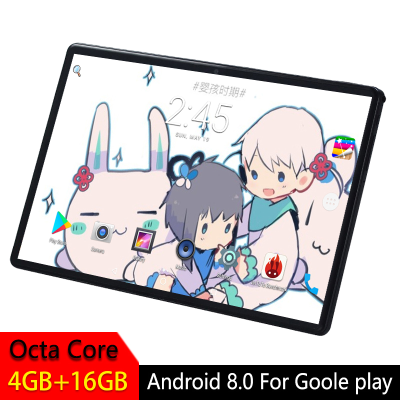 10 Inch Kids Android Tablet 2.5D Tempered Glass Screen Octa Core Phone SIM Card WIFI GPS RAM 4GB ROM 16GB Tablet PC Android 8.0