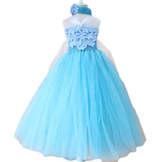 2016 año nuevo estilo de Nieve lentejuelas rein neiges Elsa tutu vestido de verano clásico vestido de fiesta de disfraces para fiestas y cumpleaños