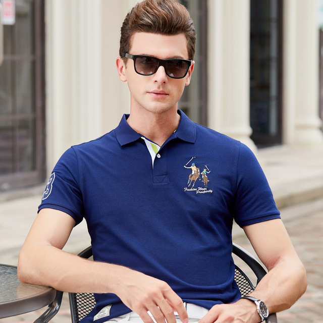 Fashion Summer Short Sleeve Solid Polo Shirt Men Cotton Print Slim Casual Polos Breathable Embroidery  Shirt Mens ClothingYP9099 2