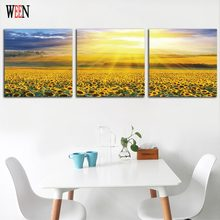 WEEN Framed HD Sunflower Wall Canvas Arts Directly Handed For Living Room Modern Fllower Field Module painting Poster Home Gift(China)
