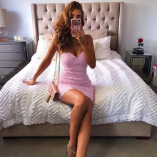 INDRESSME Women Bandage Dress Strapless Sexy Pink Sleeveless Club Dress Celebrity Party Runway Dress 2019 New Vestidos Verano