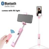 2019 Nova 4 Em 1 IPhone Bluetooth Selfie Vara com Suporte de Tripé de Luz LED Integrado de Transmissão Ao Vivo De Vídeo Multifuncional