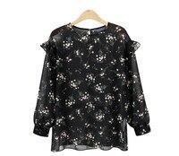 Europe New High Street Long Sleeved Floral Chiffon Shirt Women QMN7096