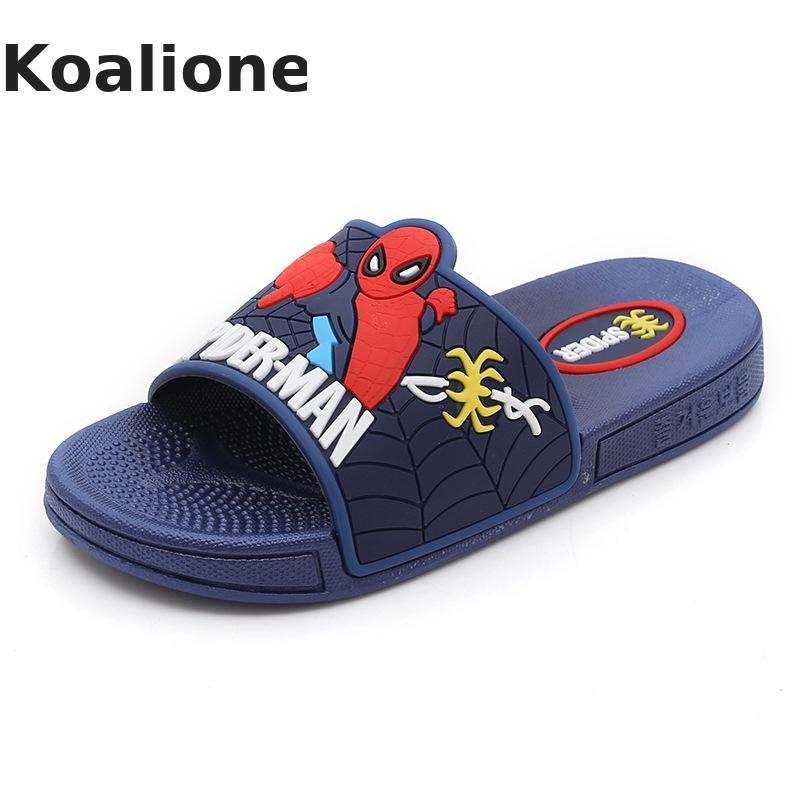 Summer Kids Slippers Boys Beach Sandal Cartoon Spiderman Flip Flop Baby Boy Indoor Non-slip Shoes Children Home Bathroom Slipper
