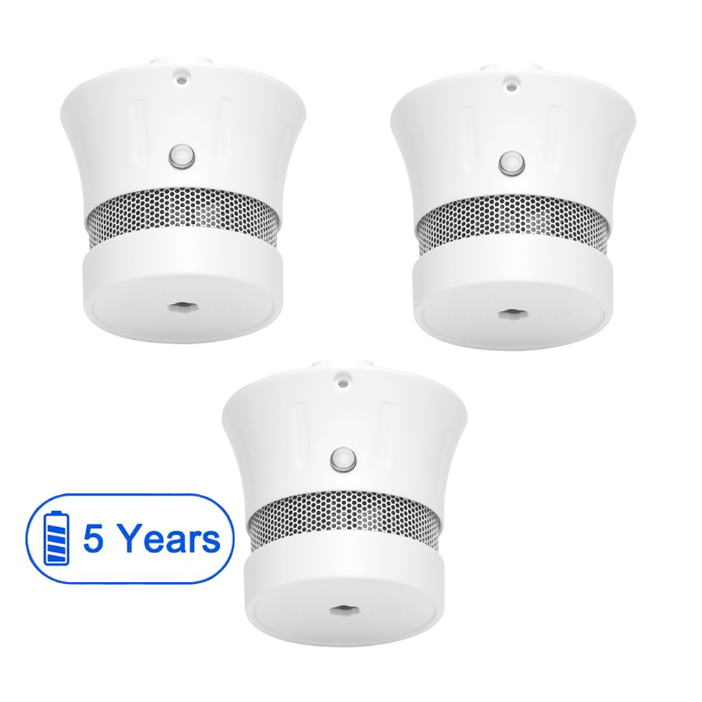 CPVan 3PCS Smoke Detector, EN14604, CE Certified Independent Photoelectric Smoke Fire Alarm with 5-Year Battery Operated 85dB