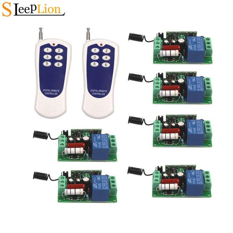 Dormeur AC 110 V 10A relais ON/OFF 1CH sans fil commutateur à distance 6-ke transmetteur + 6 récepteur telessorcière Module 110 V 315 MHz 433 MHz