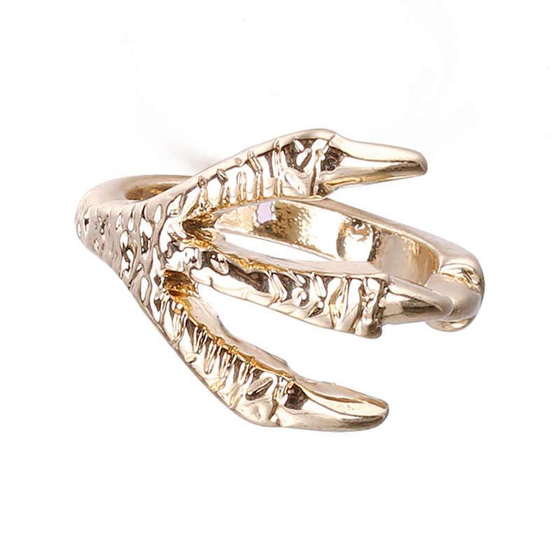 1PC sprzedaż złoty kolor pazur smoka pierścień Punk Rock mężczyzna Biker pierścienie Gothic oświadczenie mężczyzny wysokiej jakości biżuterii sprzedaż hurtowa KC05