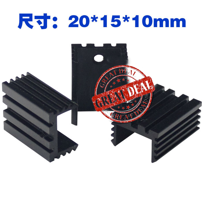 Free Shipping Wholesale 100PCS Aluminum To220 Heatsink 20*15*10mm  7805 Heatsink U Shape Radiator Cooling Fan Black