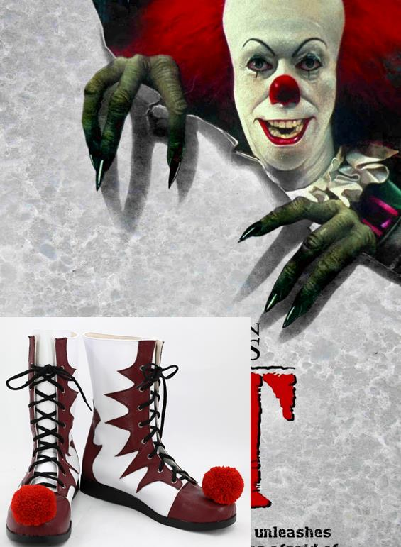 Stephen King's It Pennywise Cosplay Shose White Red Synthetic Leather Boots Halloween Horrible Clown Cosplay Disguisment