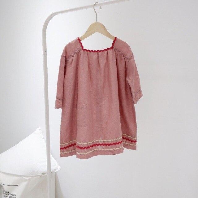 Crianças vestidos para as meninas do bebê roupas de menina Retro cor pasta de feijão vermelho vestido solto vestidos 2019 novo design adoráveis meninas vestir