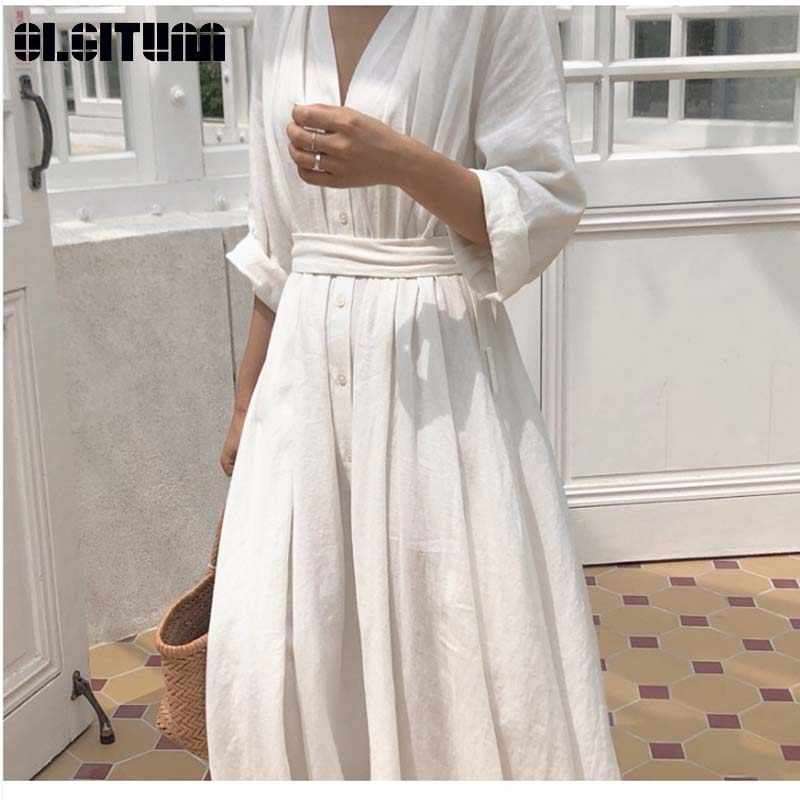 New  2019 Spring Summer Dress Korean Popular Temperament Simple V-Neck Tie With Pleated Loose Dress DR940