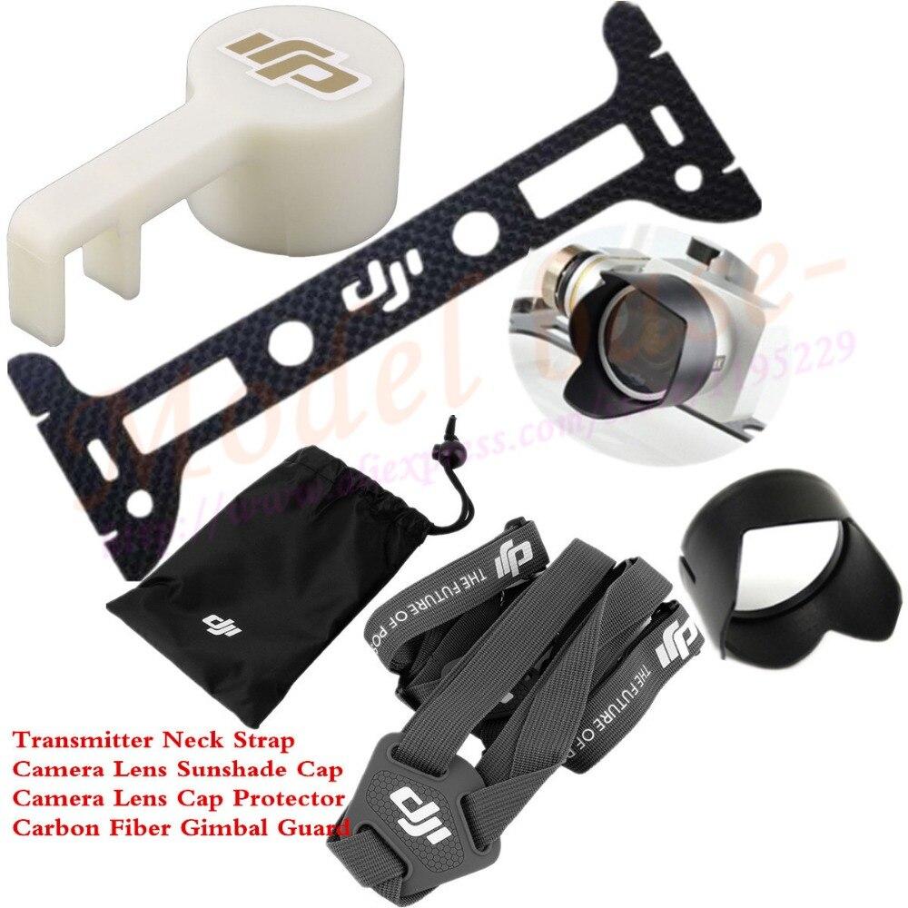 Transmitter Shoulder Strap Belt Sling +Carbon Fiber Gimbal Guard+Camera Lens Cap Protector+Sunshade Cap for DJI Phantom 3