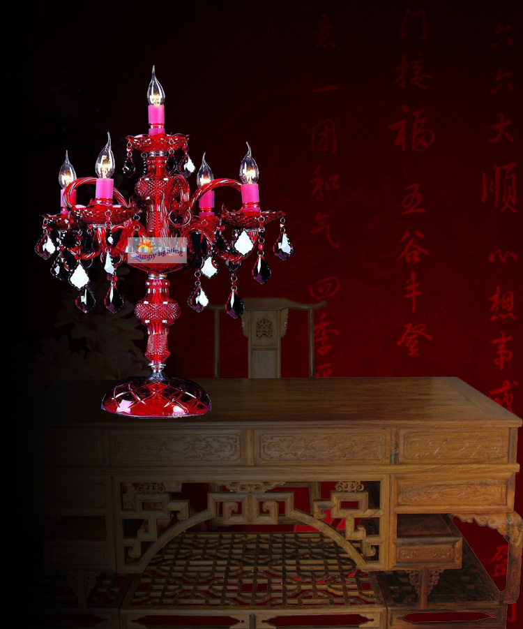 Bedroom large red crystal table lamp desk lamp indoor light led bedroom large red crystal table lamp desk lamp indoor light led table light candelabra wedding candlestick candle holder abajur in desk lamps from lights aloadofball Image collections
