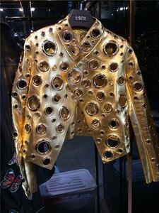 Image 4 - 레이디 정품 양 가죽 짧은 재킷 100% 진짜 양 가죽 코트