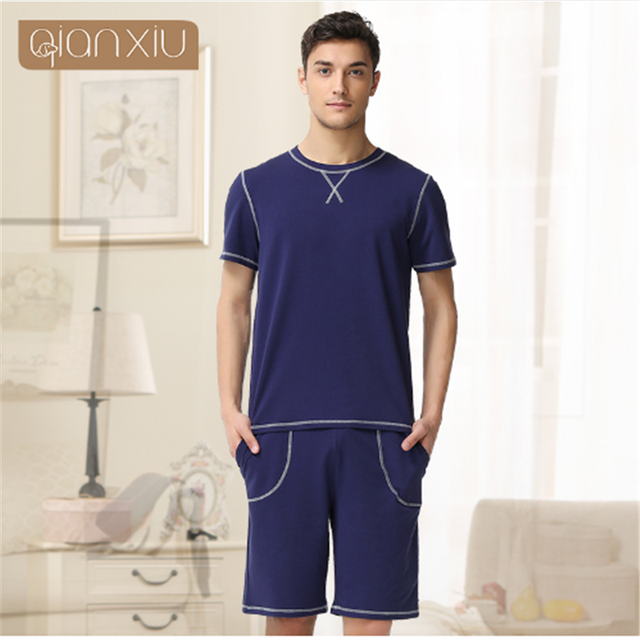 Qianxiu Cotton Pajamas Sets For Men Knitted Short Sleeve Lounge Wear Casual Stlye Summer Modal Homewear Couples Sleepwear 1656