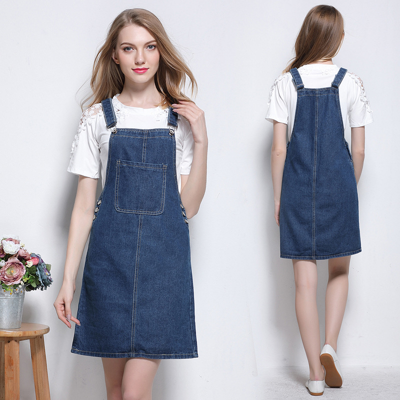 68e2822e606 2017 women clothing solid color pockets slim washed denim overalls dresses  Female casual preppy style mini strap jeans dress 550-in Dresses from  Women s ...