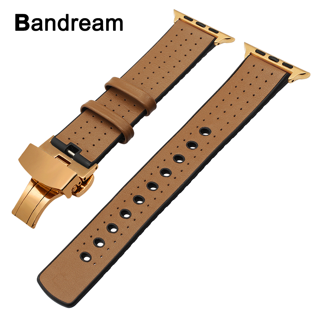 Italy Genuine Leather & Silicone Rubber Watchband for iWatch Apple Watch 38mm 42mm Series 1 2 3 Band Butterfly Buckle Belt Strap kakapi crocodile skin genuine leather watchband with connector for apple watch 38mm series 2 series 1 pink