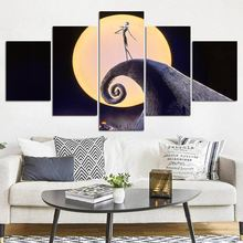 5 Pieces Canvas The Nightmare Before Christmas Modular Pictures panel painting Wall Art poster and prints F1297