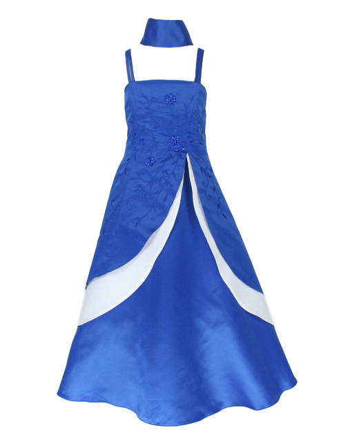 RB6339 free shipping royal blue & white satin pageant flower girl ...