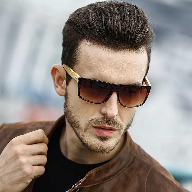94256d59058  EL Malus Big Square Frame Wooden Sunglasses Men Male Gray Silver Blue Lens  Mirror