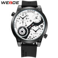 WEIDE Men's Top Luxury Sports Analog Silicone Strap Multiple Time Zones Compass Water Resistance Army Military Wrist Watch Clock