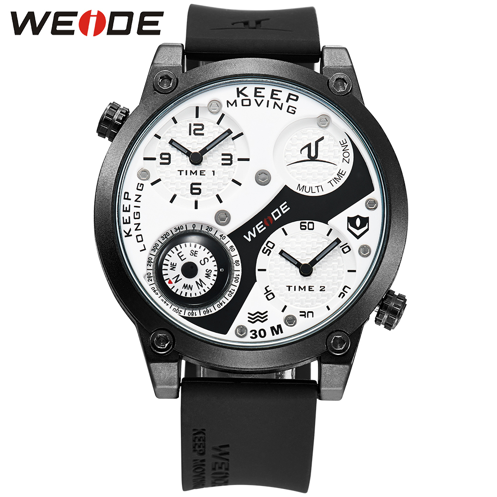 WEIDE Sports Brand Men's Luxury Compass Analog Silicone Strap Dual Time Zones Water Resistance Army Military Wrist Watch Clock waterproof weide brand military watch big round dial analog two time zones display leather strap men army sports waches relogio