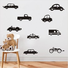 New arrival Classic Black Car Motorcycle Truck Wall Sticker For Kids Room Art Vinyl Murals Stickers Home Decor