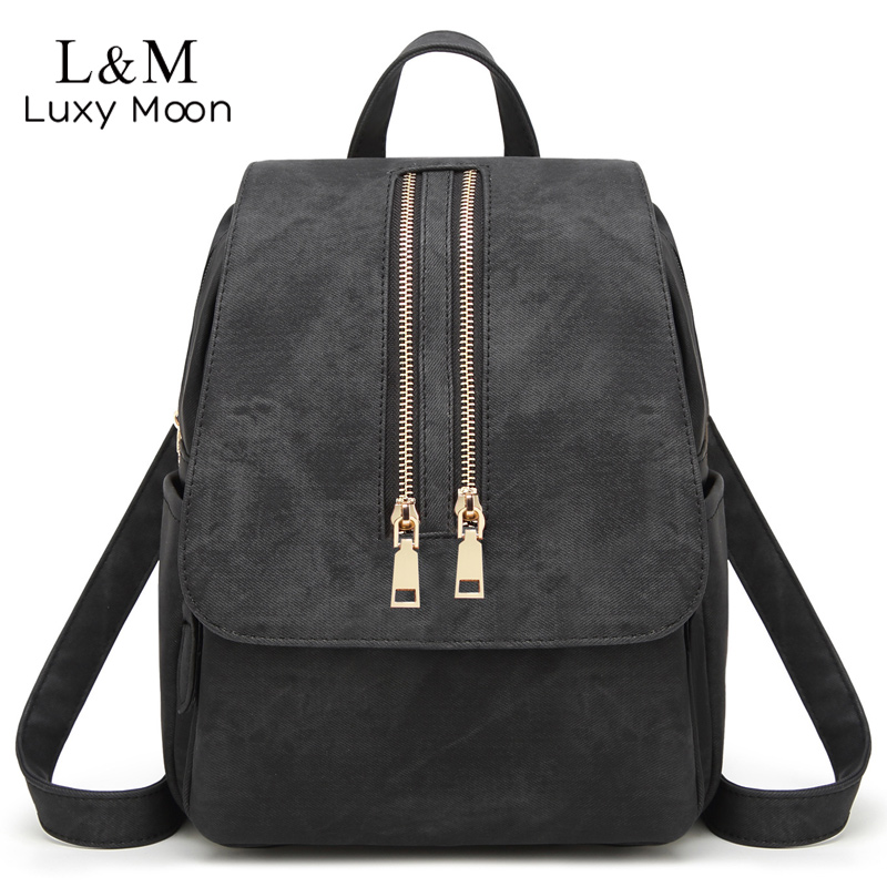 Women Leather Backpacks Vintage School Bag for Teenage Girls Female Fashion Rucksack Mochila Grey Black Zipper Travel Bags XA22H fashion gold leather backpack women black vintage large bag for female teenage girls school bag solid backpacks mochila xa56h