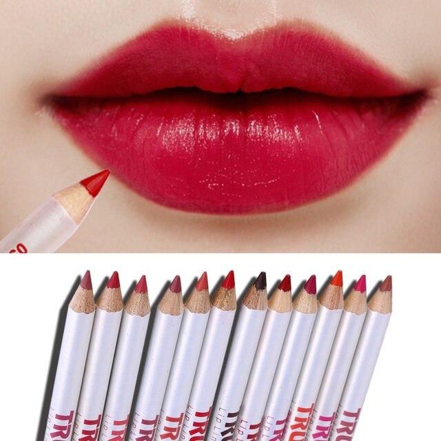 12 Colores/juego de lápiz de labios mate Sexy Lápiz Delineador de labios mate lápiz de maquillaje de belleza cosmética