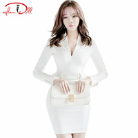 2017 Spring Underwear Ladies Sexy Mini Vestidos Professional Office Work Dresses Slim Bodycon Full Sleeve White Cloth