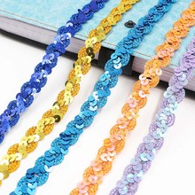 5m Sequin Lace Curve Lace Fabric Trim DIY Sewing Craft Garment Accessories Shiny Beading Sequins Ribbons Wedding Decoration 4meters 4cm eco friendly sequins lace trims 3d gold silver lace ribbons for stage dance dress belt sewing accessories