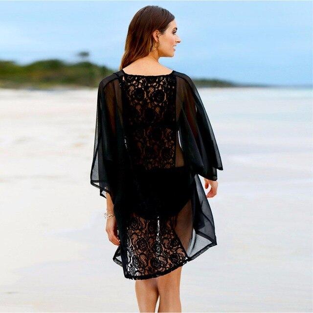 9114a14ba Blusa negro Sheer Lace Maxi Kimono mujer moda Verano 2017 Sexy Tops tres  cuarto manga cinturón