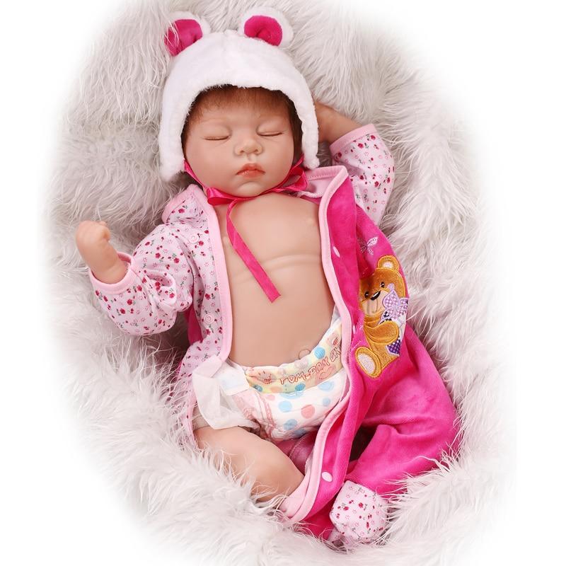 NPK 22inch Silicone New Reborn Baby Dolls Realistic Sleeping Girl reborn Babies bonecas Kids Toys