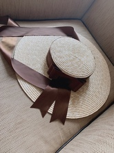 axi-green ribbon European show style summer handmade paper wind brim leisure beach  lady cap women sun hat