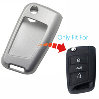 1pcs Elegant Aluminum Car Key Case Smart Remote Protector Cover For Seat Leon MK3 Silver With