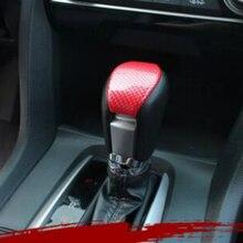 1 Pcs 2018 Novo Interior Peças Para Honda Civic 2017 Botão Do Deslocamento  De Engrenagem De Fibra De Carbono ABS Vermelho Decora.