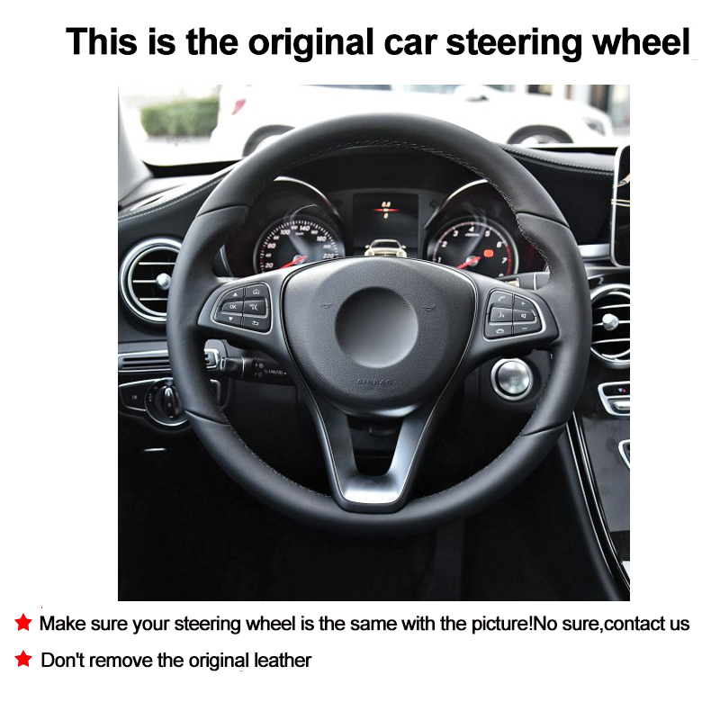 DIY Car Steering Wheel Cover Volant For Mercedes Benz C180 C200 C260 C300 B200 Suede Cow Leather Braid on the Steering wheel-in Steering Covers from Automobiles & Motorcycles    2