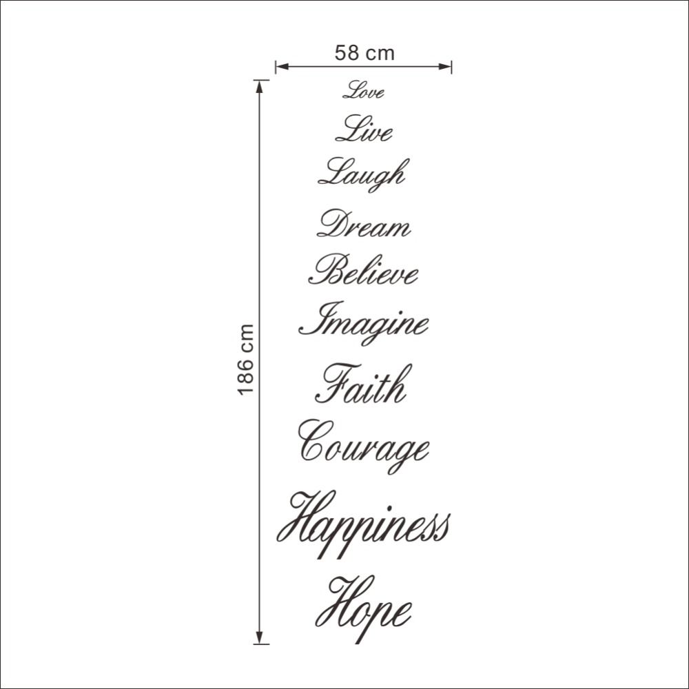Love Live Laugh Dream Believe Imagine Faith Courage Hiness Hope English Proverb Wall Quote Decal Sticker Words Decor In Stickers From Home