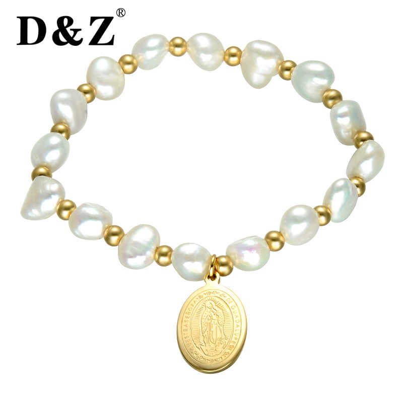 D&Z Religion Irregula Freshwater Pearl Strand Bracelet Women Gold Stainless Steel Virgin Mary Beads Bracelets & Bangles Jewelry