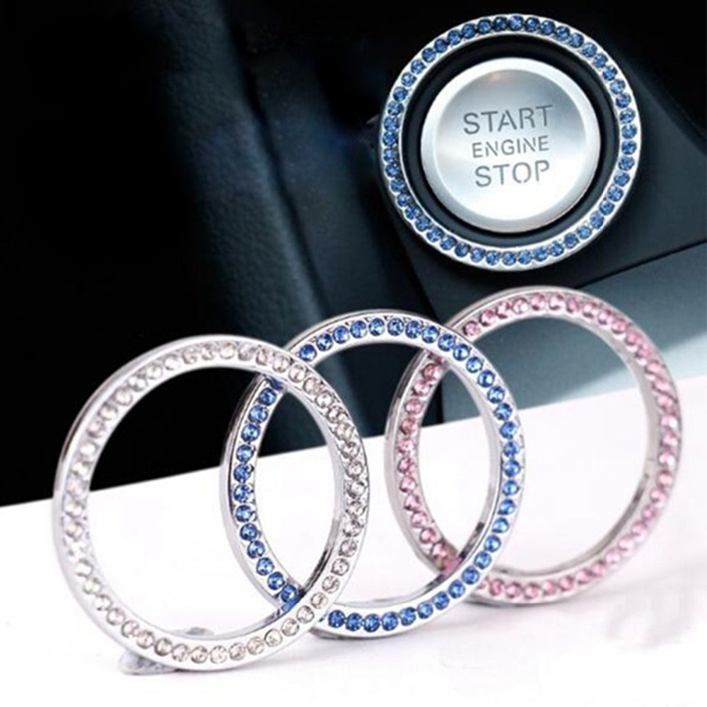 Car Styling Auto Engine Start Stop Decorative Ring Case Car Button Decoration Interior Cover Switch Key Ring Accessories