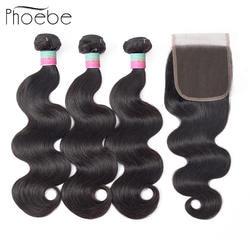 Волосы перуанские волосы 3 пучки с закрытием кружева не Реми человеческие волосы ткачество пучки с закрытием натуральный цвет
