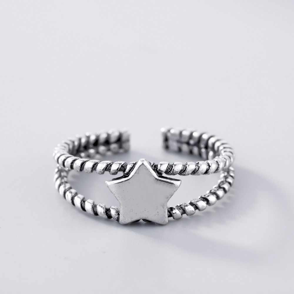 Kinitial Винтаж звезда манжеты открытым Кольца для Для женщин серебро 925 тайский линии поворот кольцо Регулируемая палец ювелирные изделия партии подарок