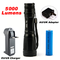 LED CREE XML T6 Flashlight Waterproof 5 Mode Torch 5000lm Tactical Flashlight  Zoomable Flash Light Adjustable 18650  Lamp